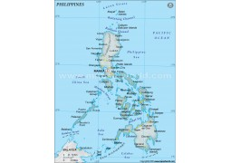 Philippines Physical Map, Gray