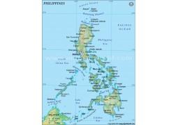 Philippines Political Map, Dark Green