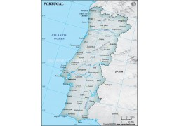 Portugal Physical Map, Dark Green