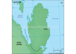 Qatar Green Blank Map
