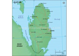 Qatar Political Map in Green Color