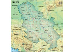 Serbia Political Map, Dark Green