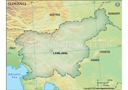 Slovenia Blank Map, Dark Green