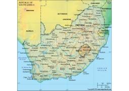 South Africa Political Map, Dark Green