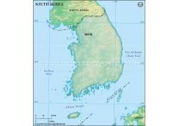 South Korea Blank Map in Dark Green Background