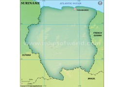 Suriname Blank Map, Dark Green