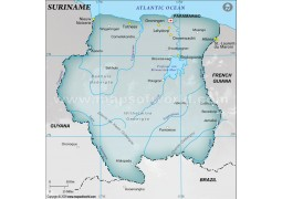 Suriname Physical Map, Gray