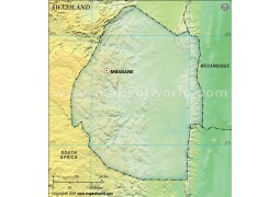 Swaziland Blank Map in Dark Green Color