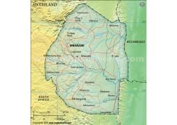 Swaziland Political Map in Dark Green Background