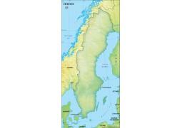 Sweden Blank Map, Dark Green