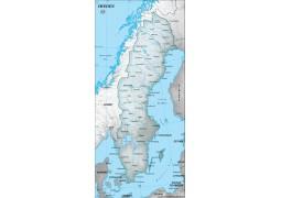 Sweden Physical Map, Dark Green