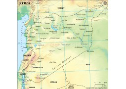 Syria Physical Map, Green