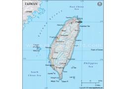 Taiwan Political Map, Dark Green