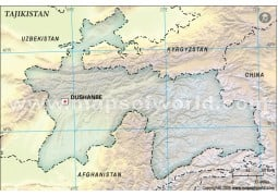 Tajikistan Blank Map, Dark Green