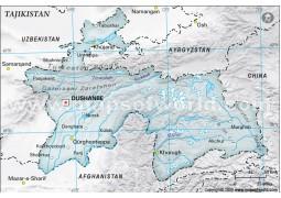 Tajikistan Physical Map, Gray