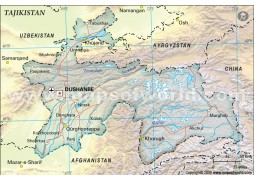 Tajikistan Political Map, Dark Green
