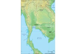 Thailand Blank Map, Green