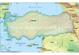Turkey Blank Map, Dark Green