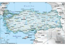 Turkey Physical Map with Cities in Gray Background