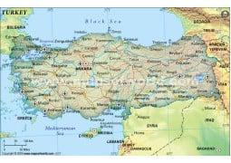 Turkey Political Map, Dark Green