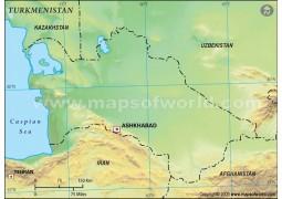 Turkmenistan Blank Map, Green