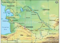 Turkmenistan Political Map, Green