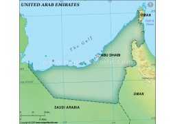 UAE Blank Map, Dark Green