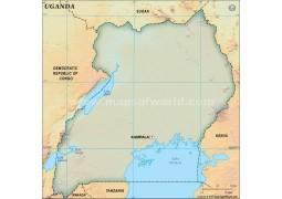 Uganda Blank Map, Dark Green