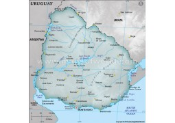 Uruguay Physical Map with Cities
