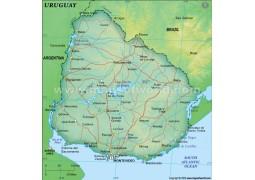 Uruguay Political Map, Dark Green