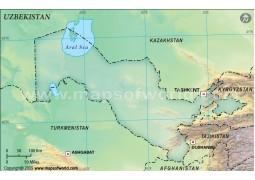 Uzbekistan Blank Map, Dark Green