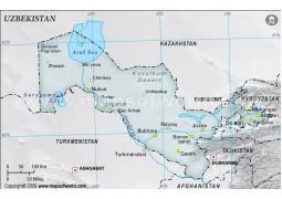 Uzbekistan Physical Map, Gray