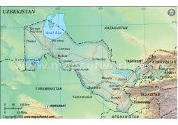 Uzbekistan Political Map, Dark Green
