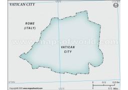 Vatican City Blank Map, Gray