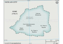 Vatican City Physical Map, Gray