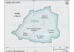Vatican City Political Map, Gray