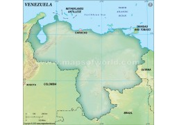 Venezuela Blank Map, Dark Green
