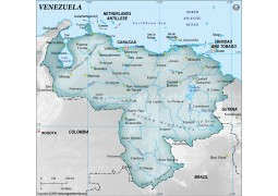 Venezuela Physical Map, Gray