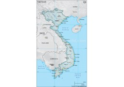 Vietnam Physical Map, Gray
