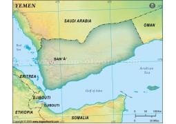 Yemen Blank Map, Dark Green