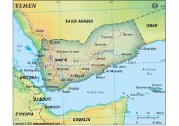 Yemen Political Map, Dark Green
