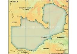 Zambia Blank Map, Dark Green