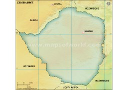 Zimbabwe Blank Map, Dark Green