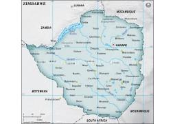 Zimbabwe Physical Map, Gray