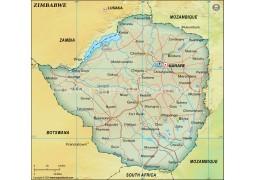 Zimbabwe Political Map, Dark Green
