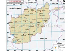 Afghanistan Latitude and Longitude Map