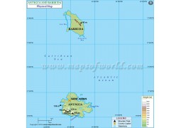 Antigua And Barbuda Physical Map