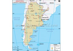 Argentina Latitude and Longitude Map