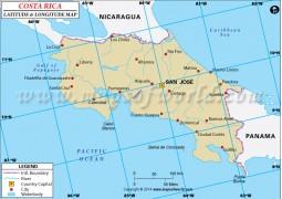 Costa Rica Latitude and Longitude Map