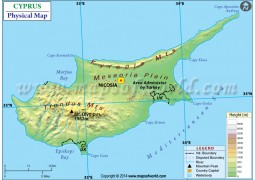 Cyprus Physical Map